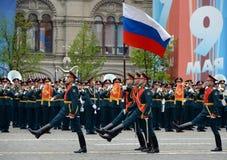 Die weithin bekannte Gruppe des Schutzes der Ehre an der Wiederholung der Militärparade des Sieges lizenzfreies stockbild