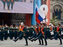 Die weithin bekannte Gruppe des Schutzes der Ehre an der Wiederholung der Militärparade des Sieges lizenzfreie stockbilder