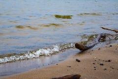 Die Welle hetzt auf dem sandigen Ufer Lizenzfreie Stockfotos