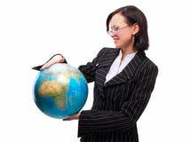 Die Welt auf einer Palme Stockfoto