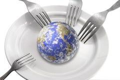 Die Welt auf einer Platte Stockbild