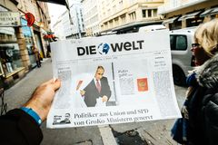 Die Welt  Russian presidential election from 2018 with the winne Stock Image