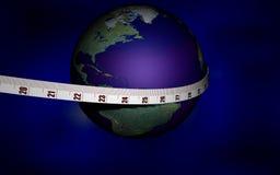 Die Welt unter Verwendung messen ich Stockfotografie