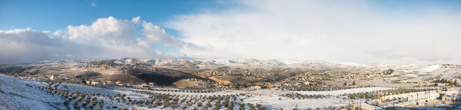 Die West Bank im Winter Stockfotos