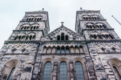 Die Westtürme von Lund-Kathedrale Lizenzfreie Stockfotos