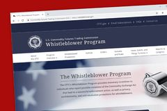 Die Whistleblower-Programmwebsite Vereinigter Staaten Commodity Futures Trading Commission CFTC stockbild
