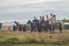 Die Wiederinkraftsetzung des Kampfes der Ära des Mongole-tatarischen Jochs in der Kaluga-Region von Russland am 10. September 201 Stockfotos