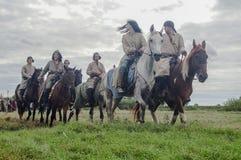 Die Wiederinkraftsetzung des Kampfes der Ära des Mongole-tatarischen Jochs in der Kaluga-Region von Russland am 10. September 201 Lizenzfreie Stockbilder