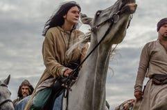 Die Wiederinkraftsetzung des Kampfes der Ära des Mongole-tatarischen Jochs in der Kaluga-Region von Russland am 10. September 201 Stockbilder
