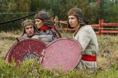 Die Wiederinkraftsetzung des Kampfes der Ära des Mongole-tatarischen Jochs in der Kaluga-Region von Russland am 10. September 201 Stockbild