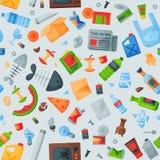 Die Wiederverwertung Muster-Abfalltaschen des Abfalls von nahtlosen kann die Wiederverwertung der Abfallbehälter-Vektorillustrati Stockfotos