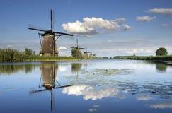 Die Windmühlen von Kinderdijk Stockbild