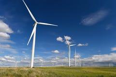 Die Windparkturbinen, die auf Hügel weiß sind, kontrastieren grünes Gras und blauen Himmel, wa Lizenzfreies Stockbild