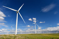 Die Windparkturbinen, die auf Hügel weiß sind, kontrastieren grünes Gras und blauen Himmel, wa Stockfoto