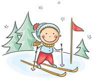 Die Winterbetriebe des Jungen: Ski fahren lizenzfreie abbildung