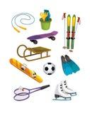 Die Winterübung - ausgewählte Elemente - Illustrations- und Arbeitsseite für die Kinder Lizenzfreies Stockbild