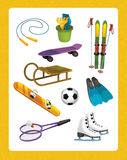 Die Winterübung - ausgewählte Elemente - Illustrations- und Arbeitsseite für die Kinder Lizenzfreie Stockfotografie