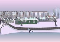 Die Winterstadt Auch im corel abgehobenen Betrag Hintergrund, Tapete Stock Abbildung