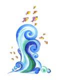 Die wirbelnden blauen Wellen der Meere, Ozeane, Flüsse Stockfotografie
