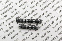 Die Wirtschaftswachstumswörter Lizenzfreie Stockfotografie