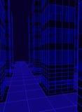 die Wolkenkratzer werden mit Neonlichtern verziert Mehrfache Wiederreflexion, 3d übertragen, Illustration 3d Stockbilder