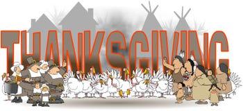 Die Wort Danksagung mit amerikanischen Ureinwohnern und Pilgern lizenzfreie abbildung