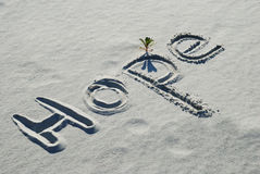 Die Wort Hoffnung geschrieben in den Sand Stockfotografie
