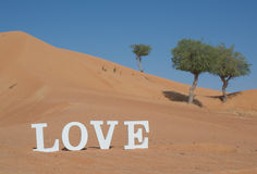 Die Wort-Liebe buchstabiert in der Wüste Lizenzfreie Stockbilder