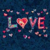 Die Wort Liebe mit Blumenverzierung für Ihr Design Stockbild