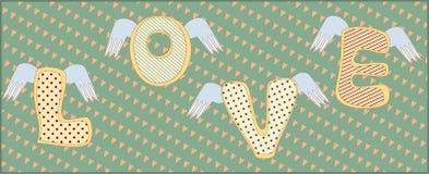 Die Wort Liebe mit Flügeln Stockbild