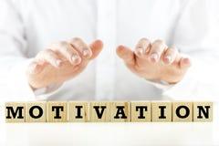 Die Wort Motivation auf Holzklötzen oder Würfeln Lizenzfreies Stockfoto