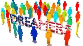 Die Wortträumer mit einer Beschaffenheit der amerikanischen Flagge umgeben durch a vektor abbildung