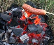 Die Wurst wird auf Feuer gebraten Stockfoto