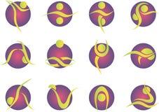 Die Yogaart, die stilisiert wurde, färbte Schattenbildikonen eingestellt Lizenzfreie Stockfotos