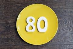 Die Zahl der achtzig-auf-gelben Platte Lizenzfreies Stockfoto