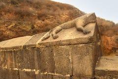 Die Zahl der Katze auf Sanahin-Brücke in Lori-Region, Armenien Lizenzfreie Stockfotos