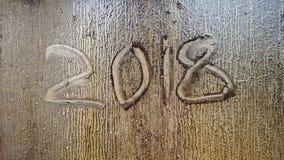 2018 die Zahl geschrieben auf ein schmutziges Glas Lizenzfreies Stockbild
