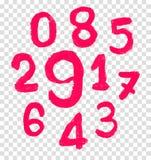 Die Zahl gezeichnet durch einen Zeichenstift Stockbild