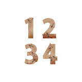 Die Zahlen, die von den hölzernen Stangen gemacht wurden, schlossen an Metallplatten an Stockfotografie