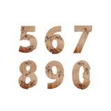 Die Zahlen, die von den hölzernen Stangen gemacht wurden, schlossen an Metallplatten an Lizenzfreie Stockfotografie