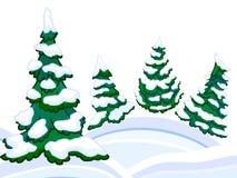 Die zapfentragenden schneebedeckten Wald- und Winterschneewehen der Karikatur Stockbilder