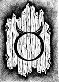 Die Zeichen des Tierkreis Stiers Leuchte des Vektorart Schwarzweiss-Tierkreiszeichnung lokalisiert auf Weiß Stockfoto