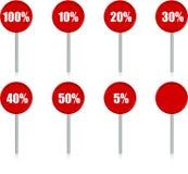 Die Zeichen von Rabatten Stockfotos