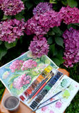 Die Zeichnung blühenden Hortensien, die Wasserfarbfarben und die Blumen in einem Garten Lizenzfreie Stockbilder