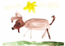Die Zeichnung der Hundekinder Stockbild