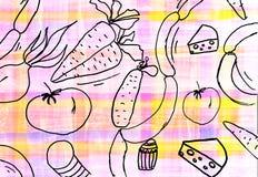 Die Zeichnung der Kinder des Lebensmittelhintergrundes Lizenzfreie Stockfotos