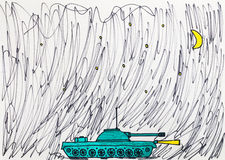 Die Zeichnung der Kinder des Militärbehälters Lizenzfreies Stockfoto