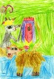 Die Zeichnung der Kinder ein Schaf Stockbild