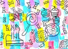 Die Zeichnung der Kinder eines Bonbonhintergrundes Lizenzfreie Stockfotos