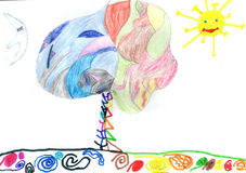 Die Zeichnung der Kinder frohe Feiertage! Stockfoto